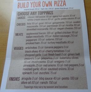 Blaze Build your own pizza menu