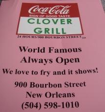 Clover Grill Menu Cover