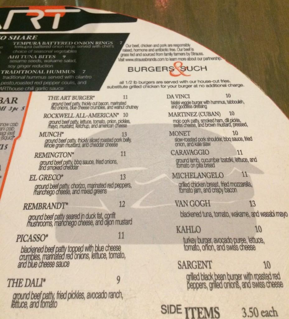 Art Burger Sushi Bar Menu