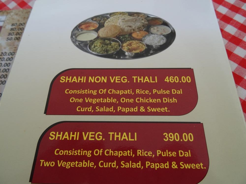 Thali Menu at Kuber Resort