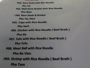 Pho menu at Pho 919