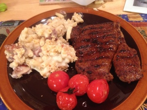 Steak with Mac N Cheese