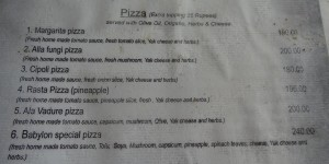 Pizza Menu at Babylon Restaurant