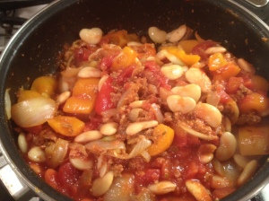Making the stew butter beans and tomato
