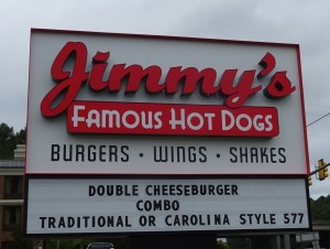 Jimmy's Hot Dog Sign