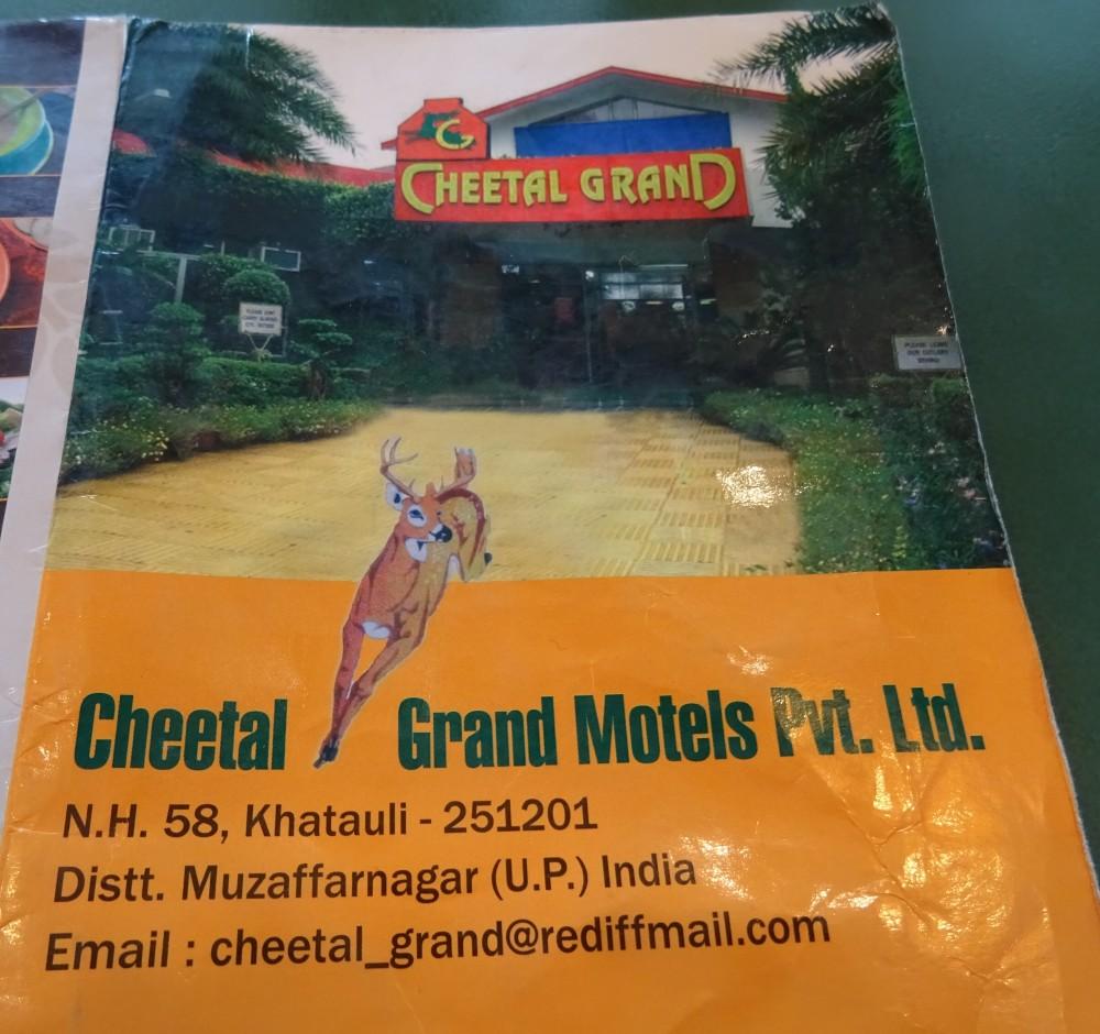 Address on Menu at Grand Cheetal