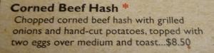 Corned Beef Hash menu at Village Deli