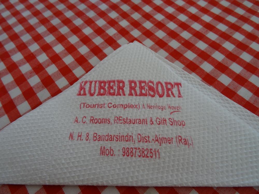 Kuber Resort Address on Napkin