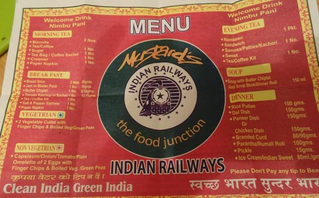 Indian Railways Menu