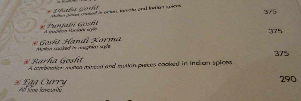 Menu at the Pinch of Spice