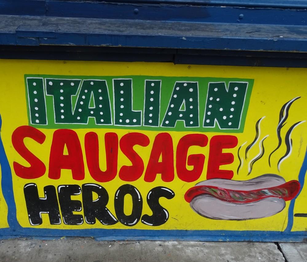 Italian Sausage Hero sign at Coney Island
