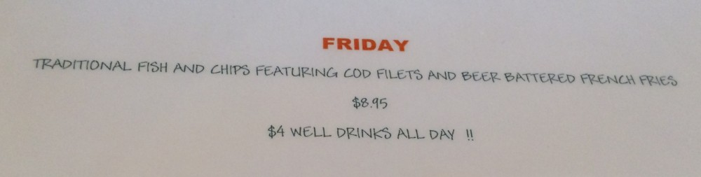 Fish and Chips Friday Menu