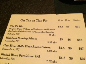 Drinks Menu at the Pit