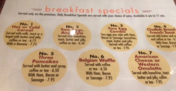 Breakfast options at Manhattan Diner