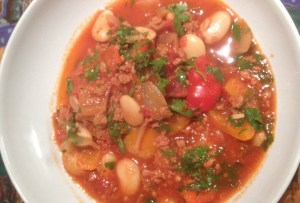 Bowl of Butter Bean andChorizo Stew
