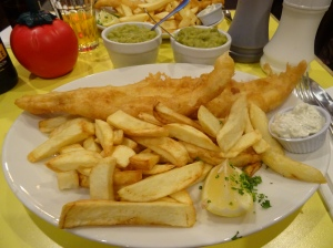 Haddock Chips and Mushy Peas at Golden Union