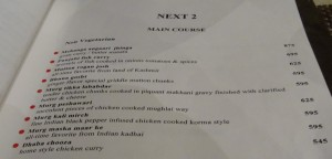 Non Veg menu at Next 2