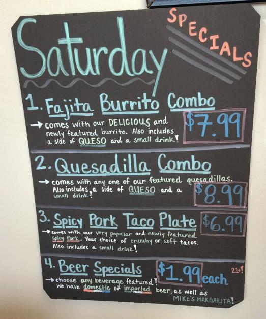 Saturday specials at Salsa Fresh